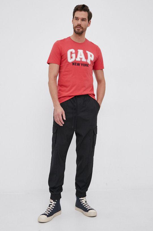 GAP - T-shirt bawełniany czerwony