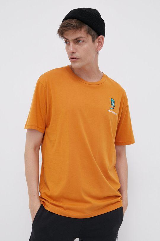 pomarańczowy New Balance - T-shirt bawełniany Męski