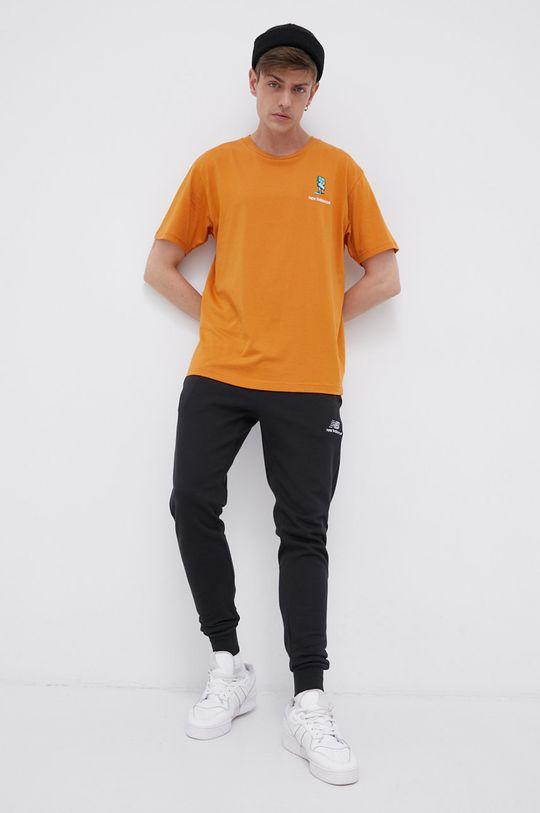 New Balance - T-shirt bawełniany pomarańczowy