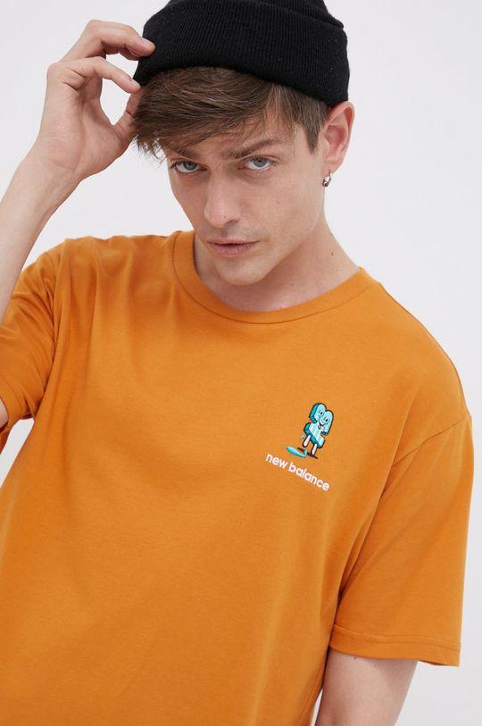 pomarańczowy New Balance - T-shirt bawełniany