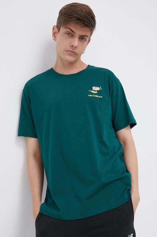 ciemny zielony New Balance - T-shirt bawełniany Męski