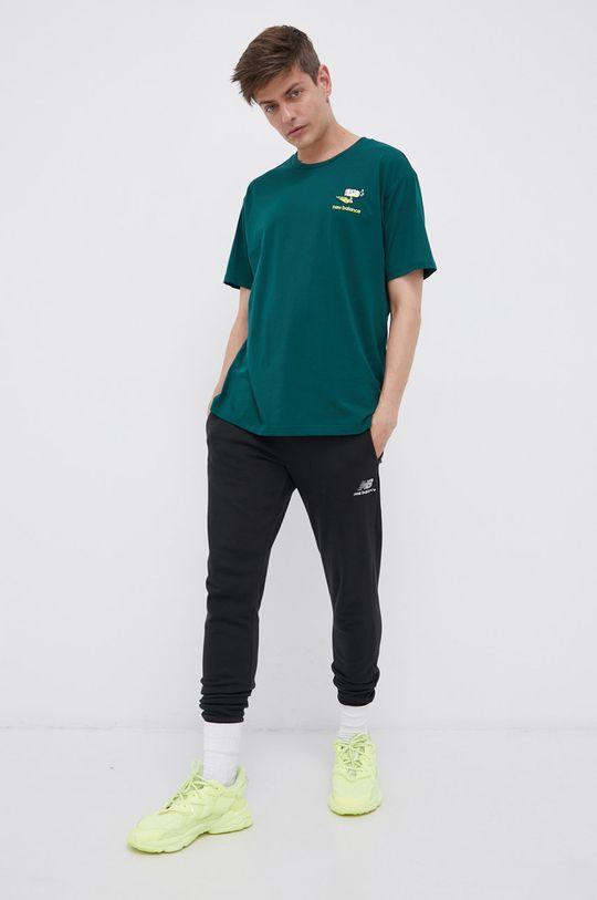 New Balance - T-shirt bawełniany ciemny zielony