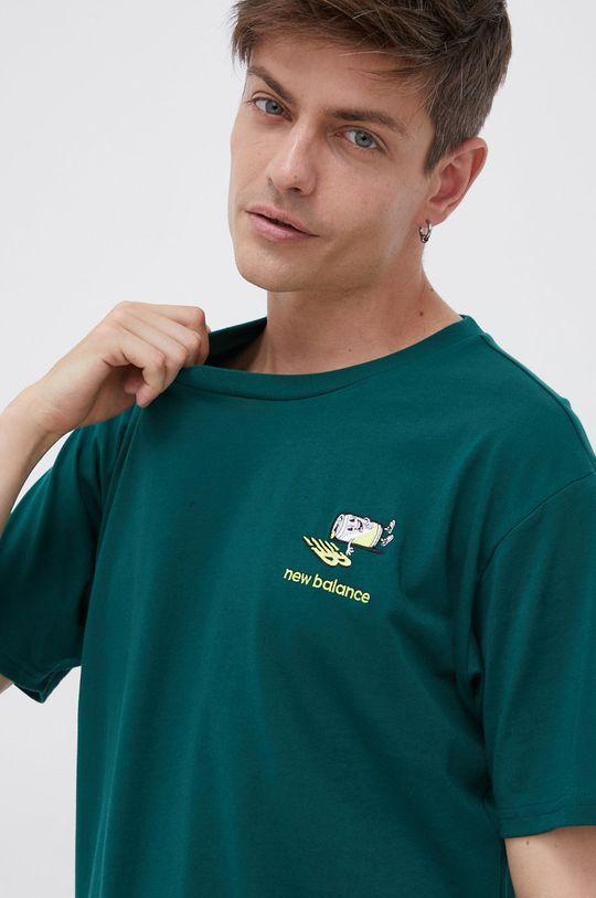 ciemny zielony New Balance - T-shirt bawełniany