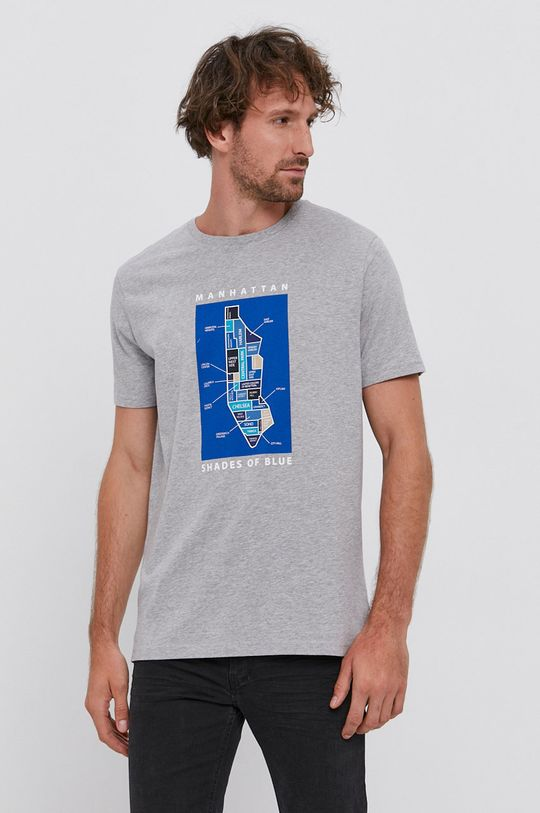 szary United Colors of Benetton - T-shirt bawełniany Męski