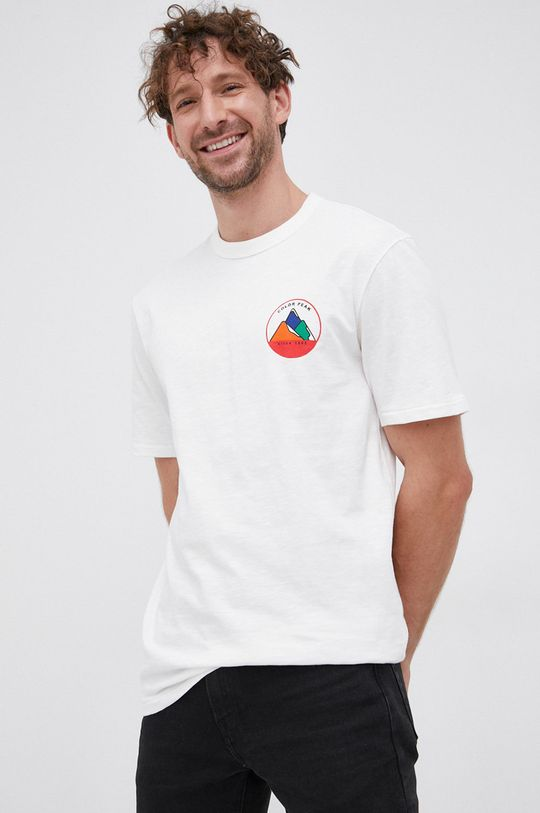 alb United Colors of Benetton - Tricou din bumbac