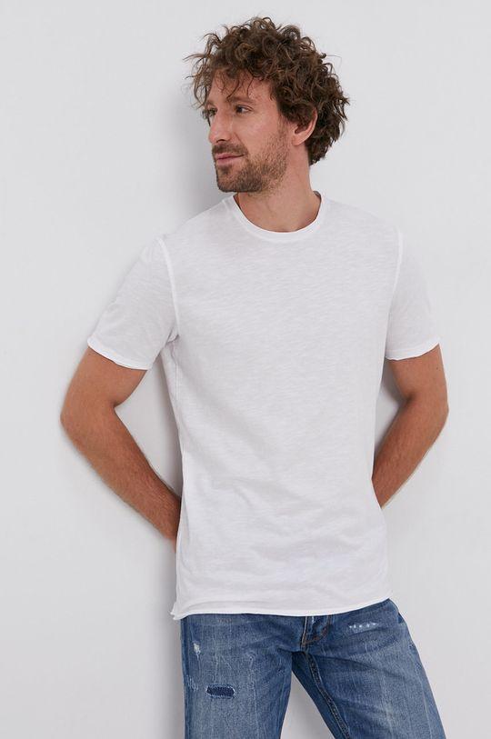biały Sisley - T-shirt bawełniany Męski
