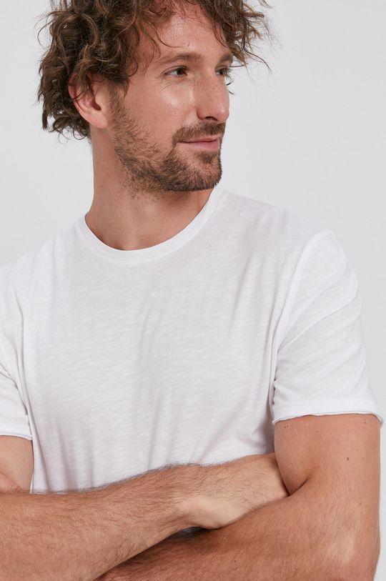 biały Sisley - T-shirt bawełniany