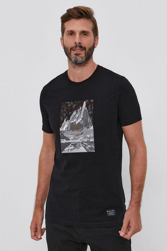 czarny Sisley - T-shirt bawełniany Męski
