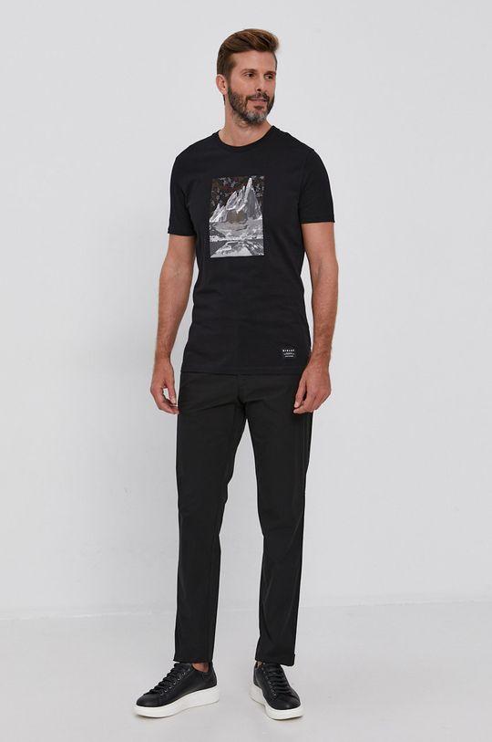 Sisley - T-shirt bawełniany czarny