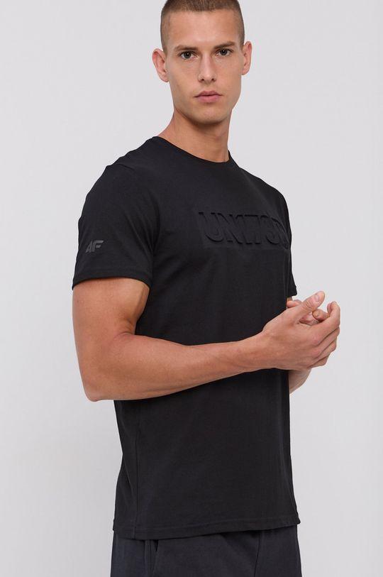 4F - Tricou din bumbac negru