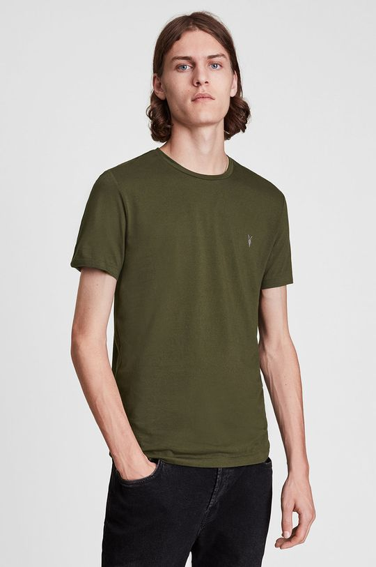 brązowa zieleń AllSaints - T-shirt bawełniany Męski