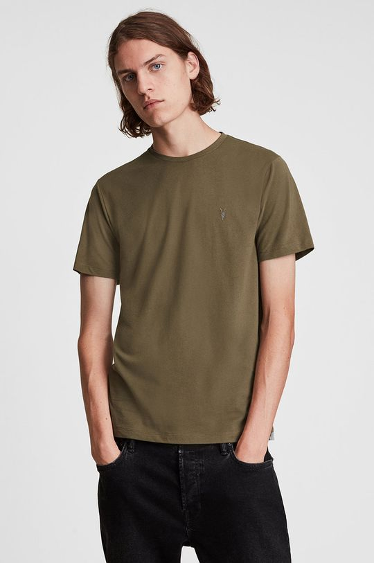 kawowy AllSaints - T-shirt bawełniany Męski