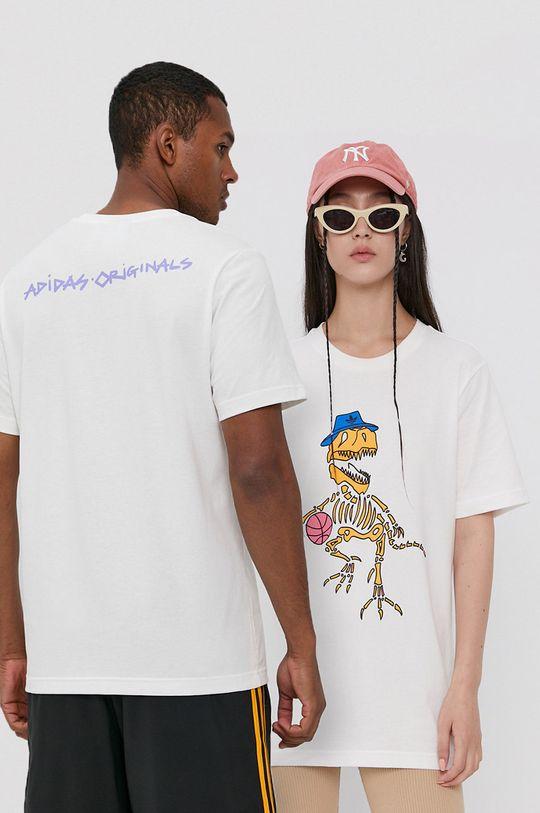 biały adidas Originals - T-shirt bawełniany Unisex