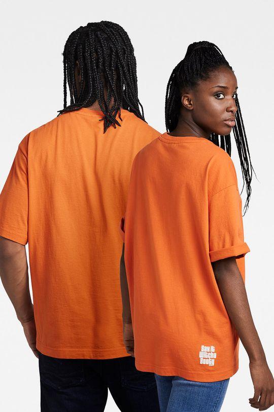 G-Star Raw - T-shirt bawełniany x Snoop Dogg pomarańczowy