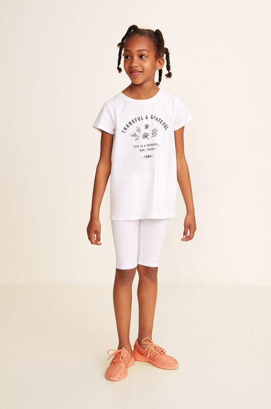 Mango Kids - Leggins copii Ella 104-164 cm alb