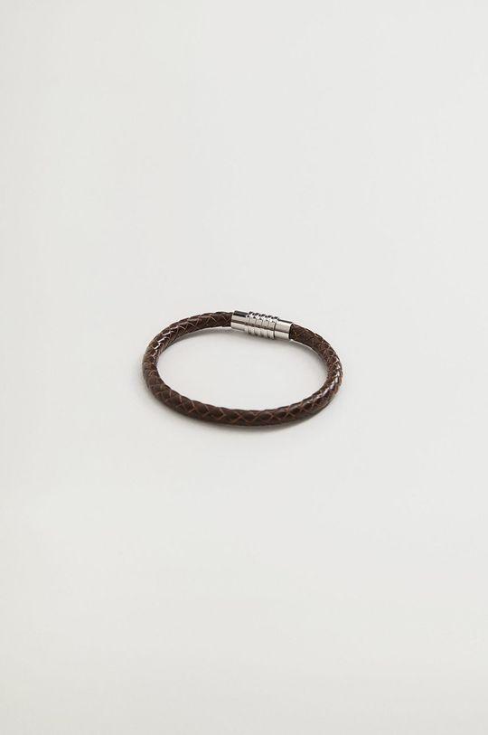 коричневий Mango Man - Шкіряний браслет Braid Чоловічий