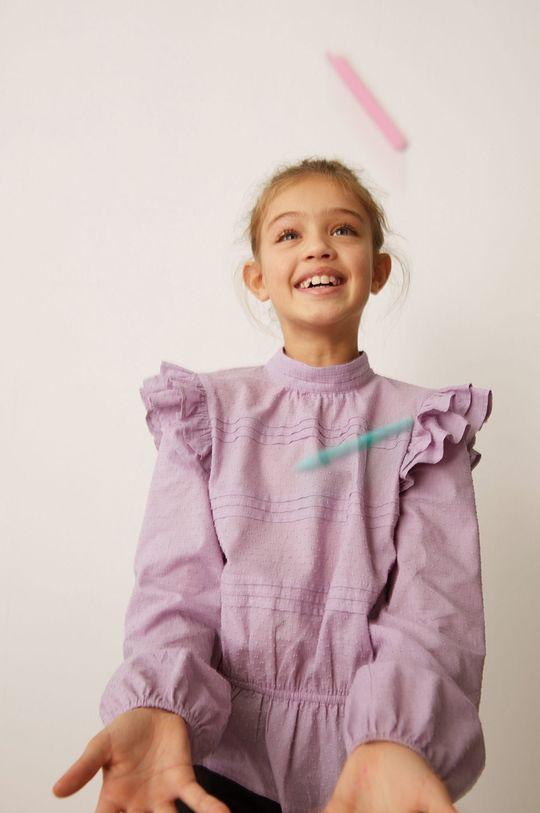 fioletowy Mango Kids - Bluzka bawełniana dziecięca Yvette 116-164 cm Dziewczęcy