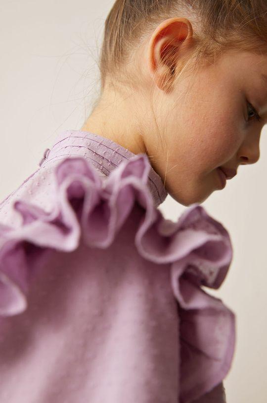 Mango Kids - Bluzka bawełniana dziecięca Yvette 116-164 cm fioletowy