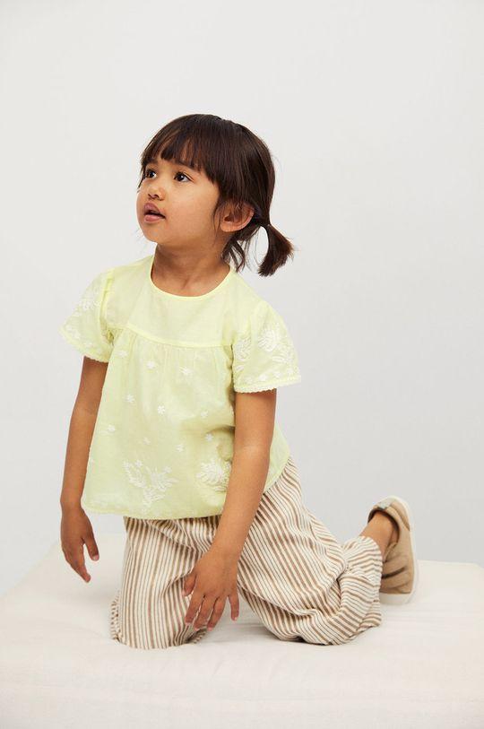 żółty Mango Kids - Bluzka bawełniana dziecięca Santas 80-110 cm Dziewczęcy