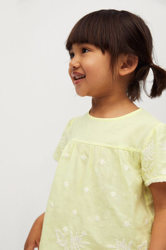 Mango Kids - Bluzka bawełniana dziecięca Santas 80-110 cm żółty
