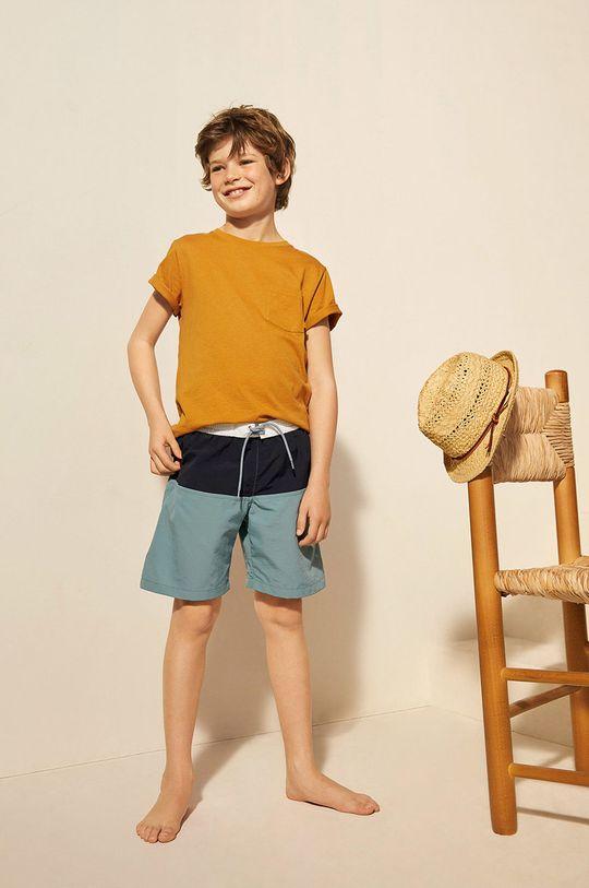 Mango Kids - Szorty kąpielowe dziecięce Block 116-164 cm granatowy