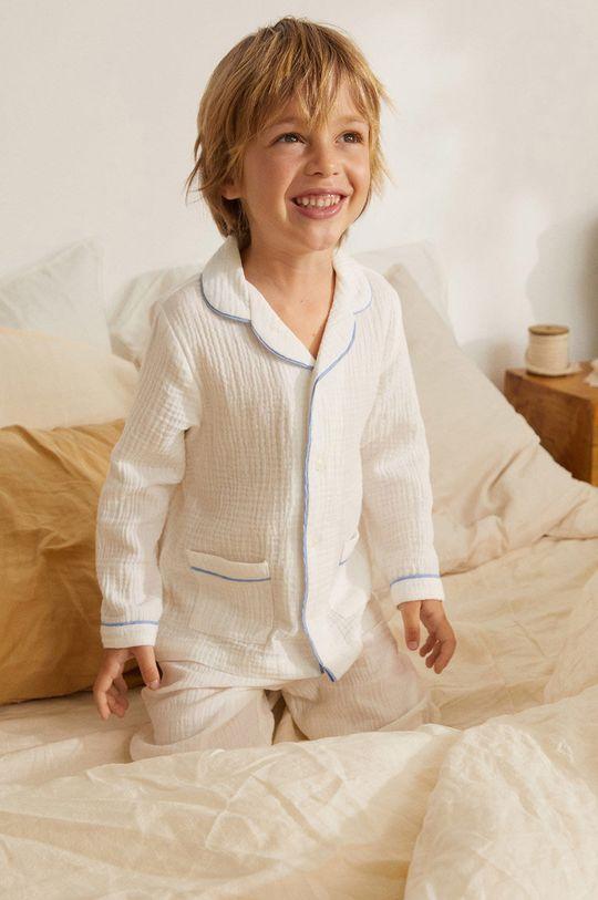 Mango Kids - Detské pyžamo Piping 86-116 cm biela