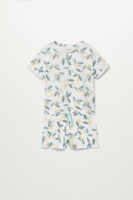 biały Mango Kids - Piżama dziecięca LEAF Dziewczęcy