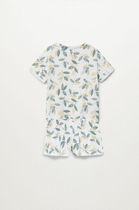 Mango Kids - Piżama dziecięca LEAF biały
