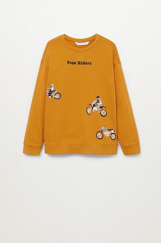žltá Mango Kids - Detská mikina WORDING Chlapčenský