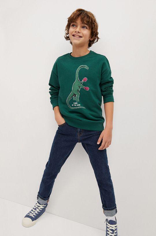 zielony Mango Kids - Bluza dziecięca WORDING Chłopięcy
