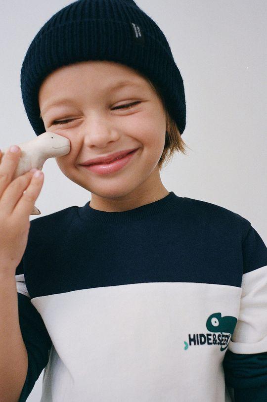 Mango Kids - Detská bavlnená mikina BLOCK3 tmavomodrá