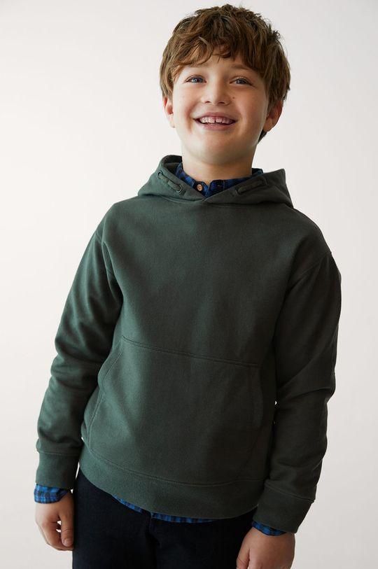 złoty brąz Mango Kids - Bluza bawełniana dziecięca HOOD Chłopięcy