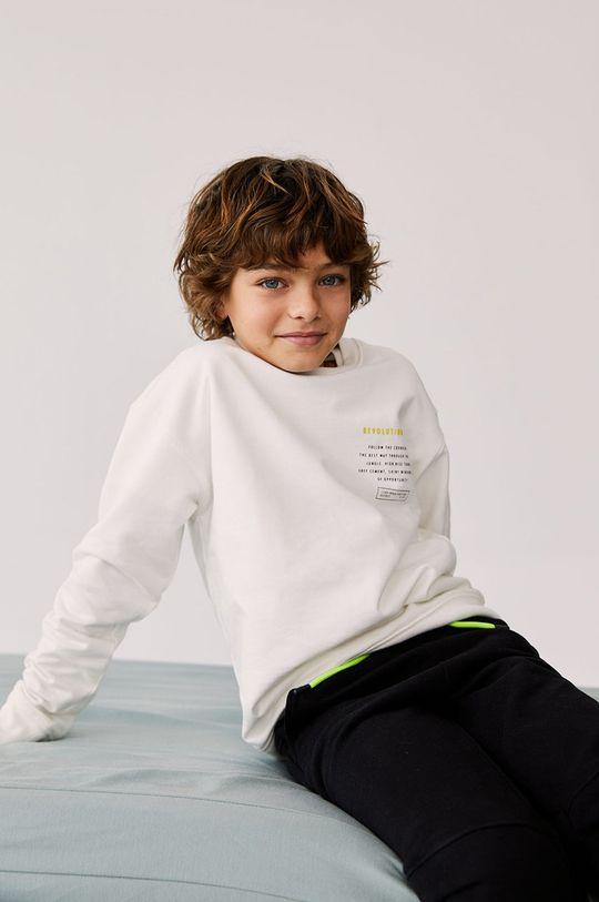 bílá Mango Kids - Dětská bavlněná mikina FOLLOW Chlapecký