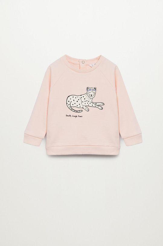 růžová Mango Kids - Dětská mikina BEAUTY Dívčí