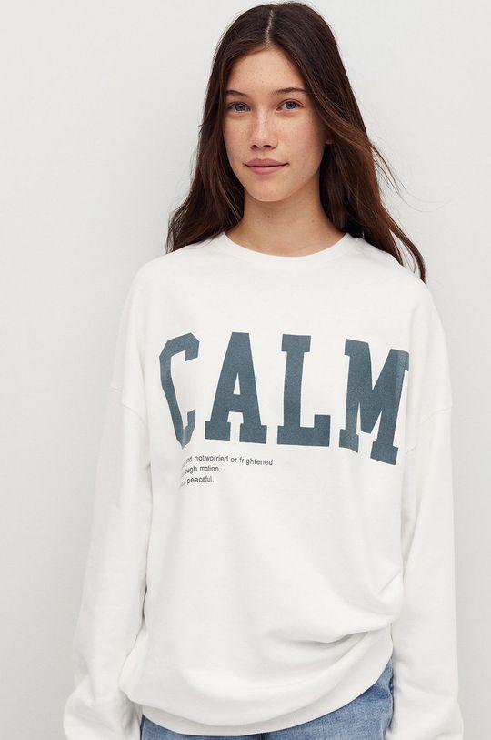 biały Mango Kids - Bluza bawełniana dziecięca Calm Dziewczęcy