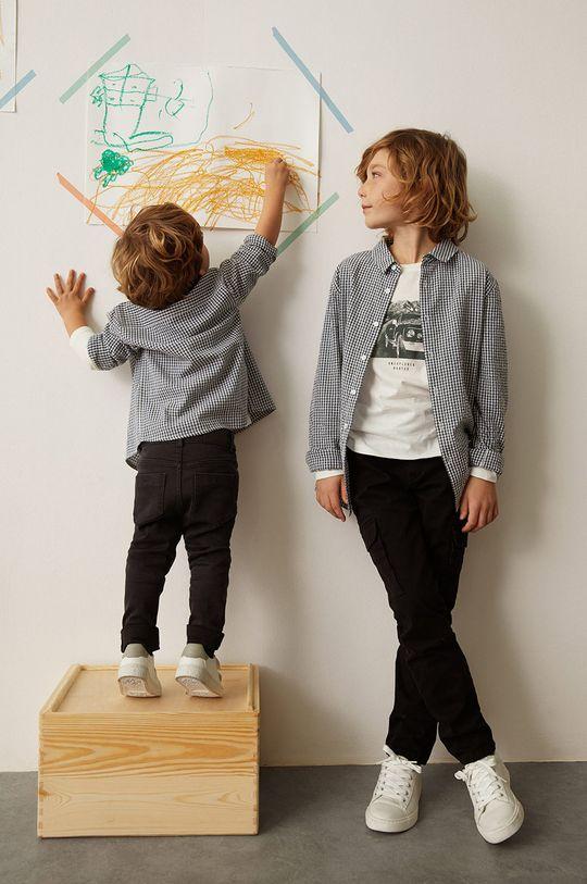 Mango Kids - Koszula bawełniana dziecięca Matcha 110-164 cm jasny szary