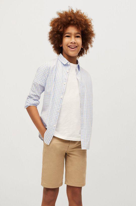 biały Mango Kids - Koszula bawełniana dziecięca Cedric 110-164 cm Chłopięcy
