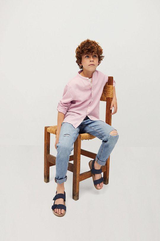 Mango Kids - Koszula dziecięca Alberto-I 110-164 cm różowy