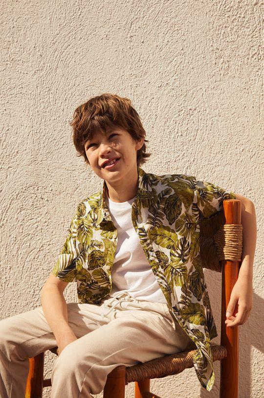 zielony Mango Kids - Koszula bawełniana dziecięca Fiji8 110-164 cm Chłopięcy