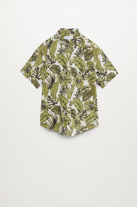 Mango Kids - Koszula bawełniana dziecięca Fiji8 110-164 cm zielony