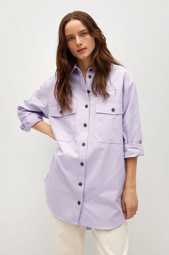 purpurová Mango - Bavlněné tričko Tana Dámský