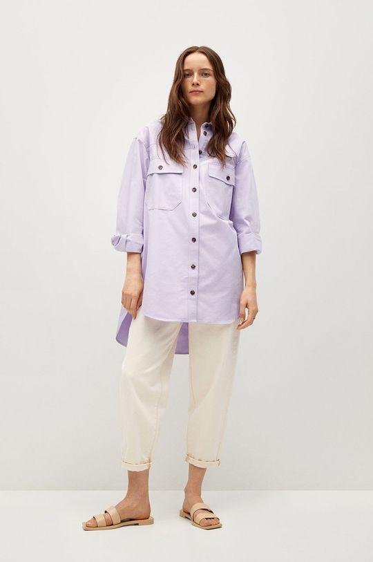 Mango - Bavlněné tričko Tana purpurová