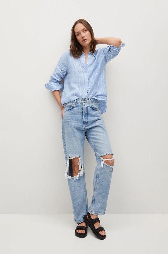 Mango - Koszula Lino niebieski