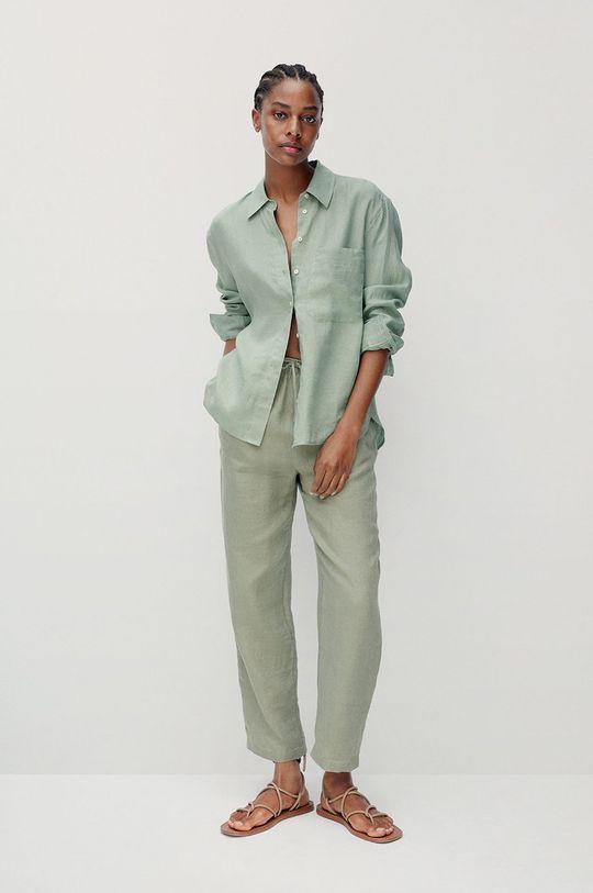 Mango - Košeľa Lino zelená