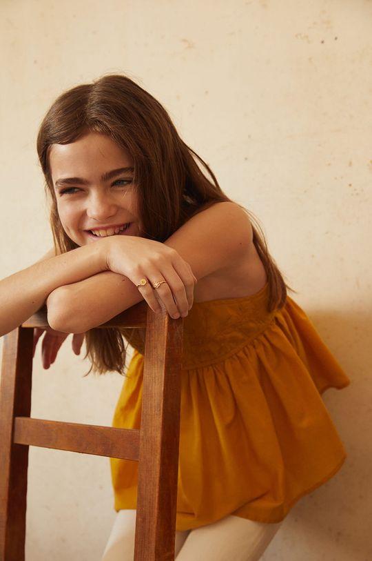 żółty Mango Kids - Bluzka bawełniana dziecięca Maya 110-152 cm Dziewczęcy