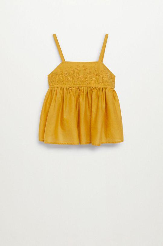 Mango Kids - Bluzka bawełniana dziecięca Maya 110-152 cm żółty