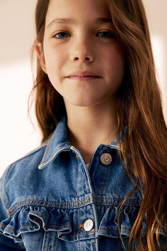 niebieski Mango Kids - Kurtka jeansowa dziecięca Norma 110-164 cm Dziewczęcy