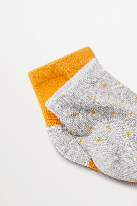 Mango Kids - Detské ponožky SQUARE (2-pak) žltá