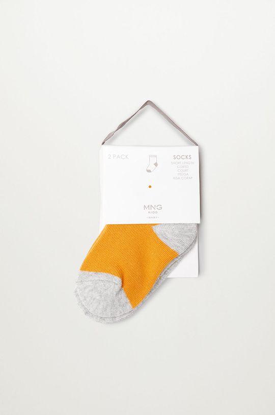 žltá Mango Kids - Detské ponožky SQUARE (2-pak)