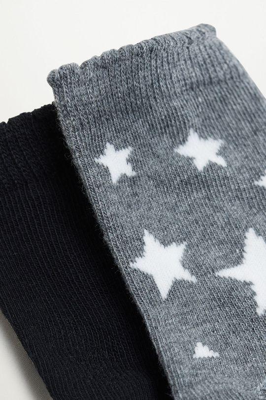 Mango Kids - Detské ponožky STARS (2-pak) svetlosivá